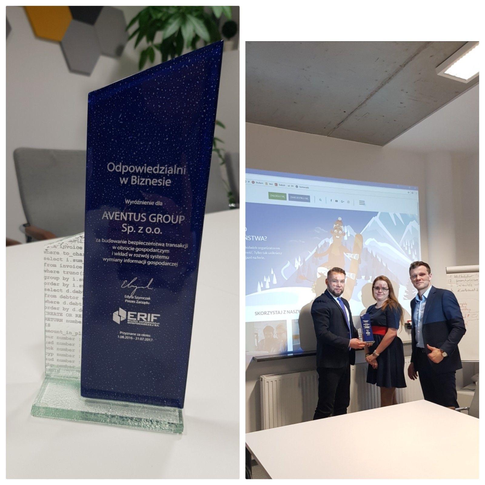 Firma Aventus Group wyróżniona certyfikatem 'Odpowiedzialni w biznesie'